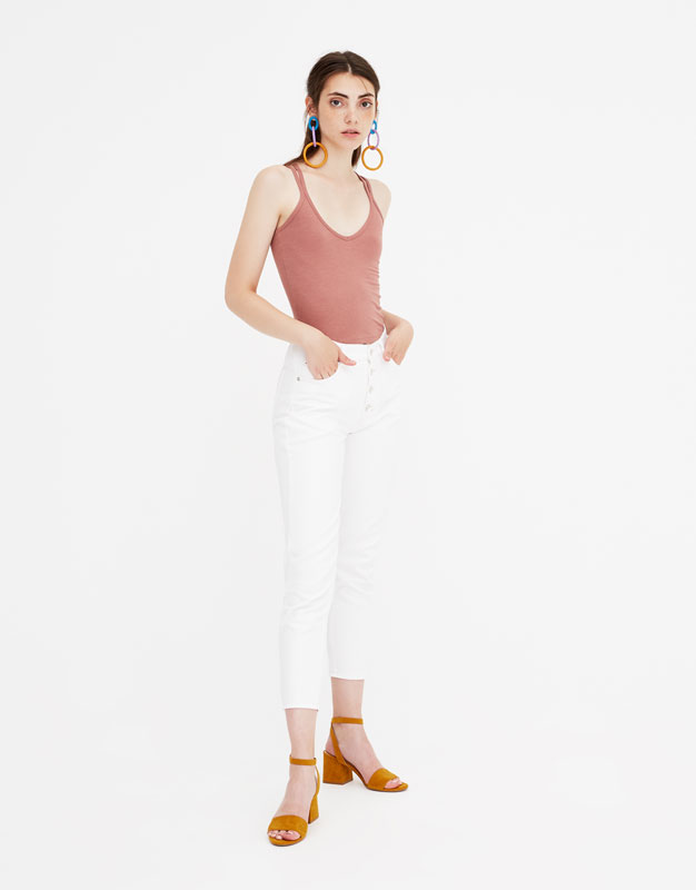 Pull & Bear - Basic T-shirt with criss-cross straps - 1