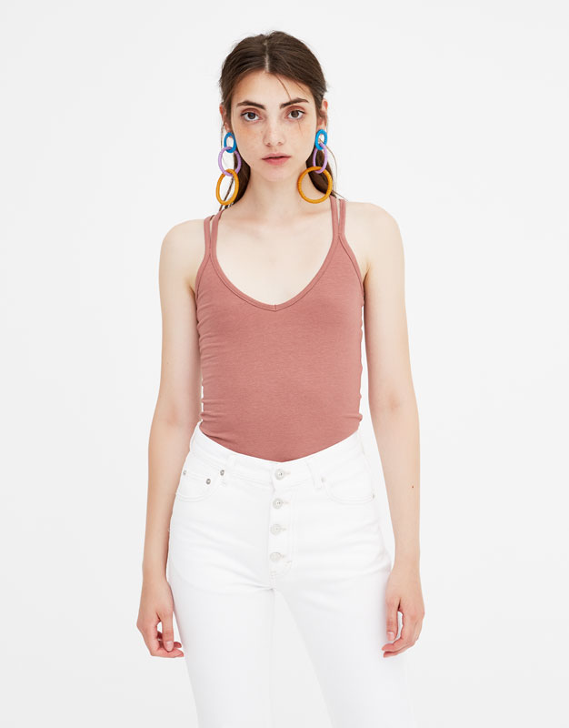 Pull & Bear - Basic T-shirt with criss-cross straps - 5