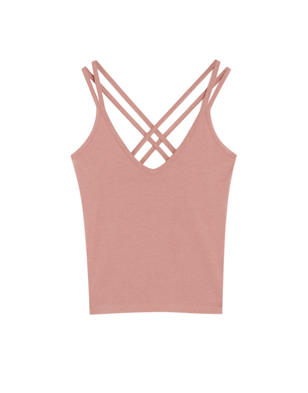Pull & Bear - Basic T-shirt with criss-cross straps - 6