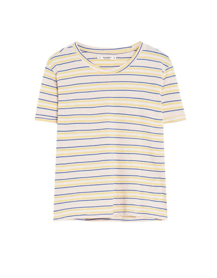 Short sleeve T-shirt with multicoloured stripes