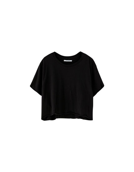 Short turn-up sleeve T-shirt