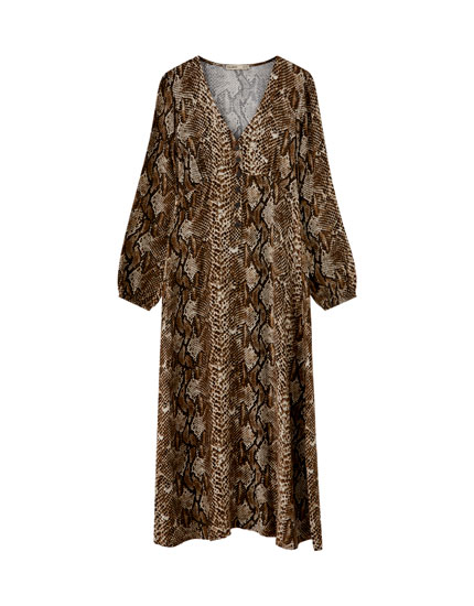 Sukienka midi w wężowy wzór
