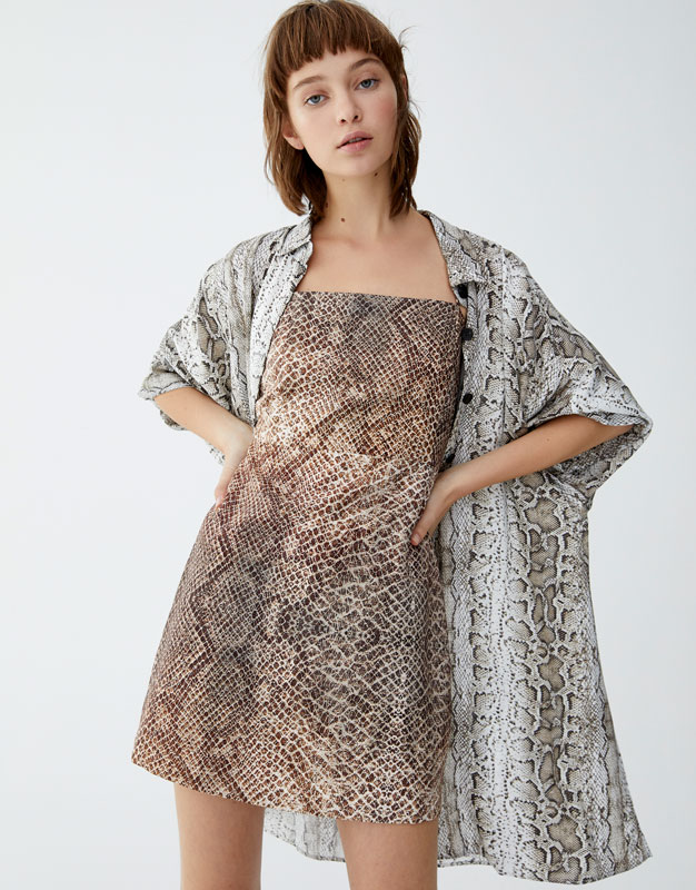 Snakeskin Print Dress by Pull & Bear