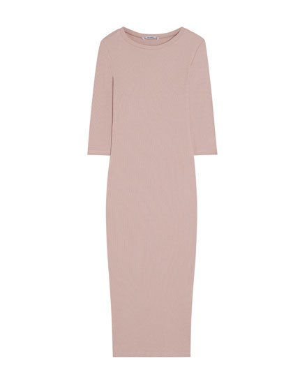 Ribbed midi dress with French sleeves
