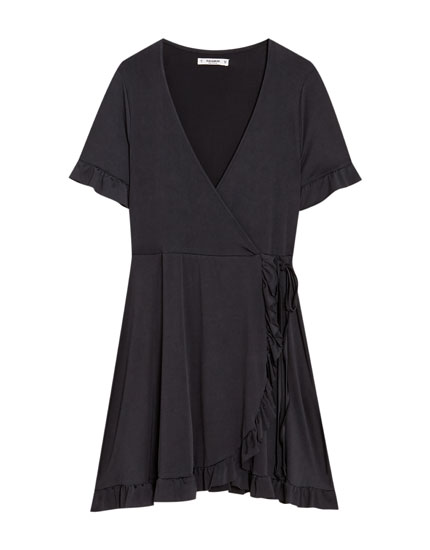 Short sleeve crossover dress