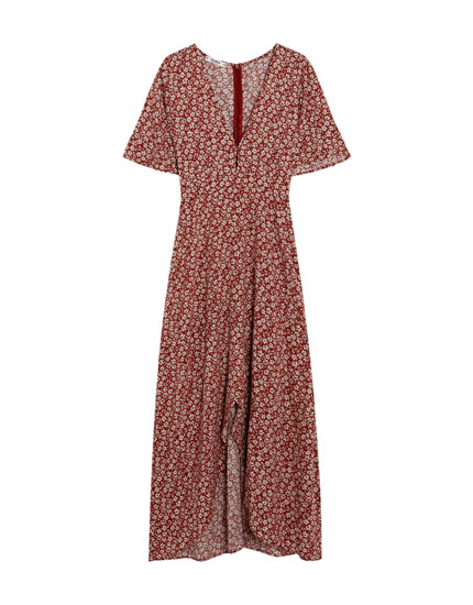 Floral print wrap midi dress