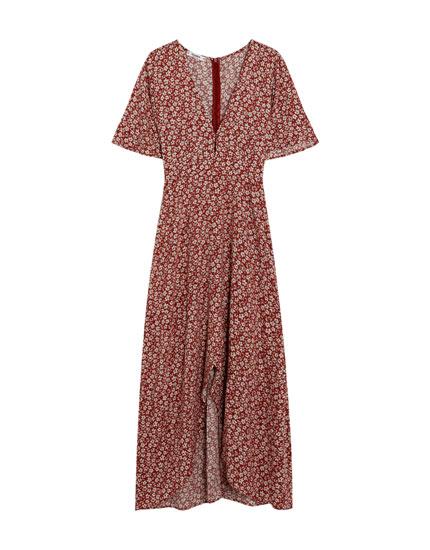 Robe-portefeuille longueur midi imprimé fleurs