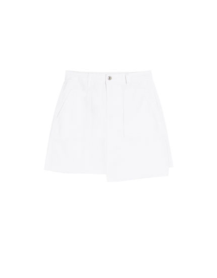 Denim skirt with uneven hem