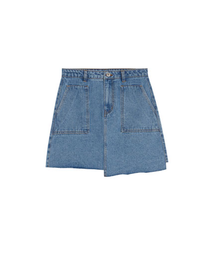 Denim skirt with uneven hem
