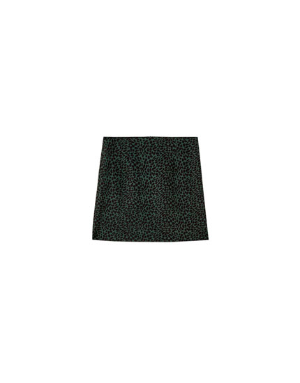Green leopard print mini skirt