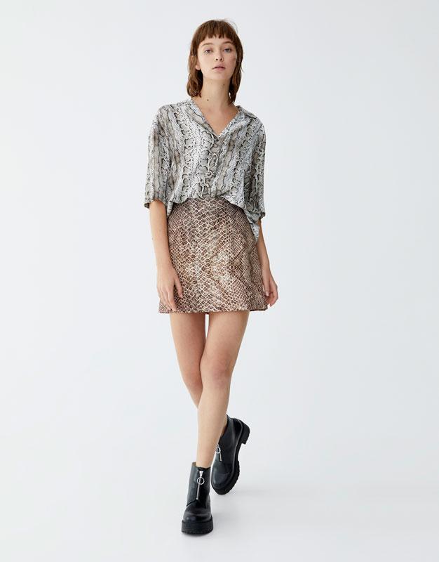 Snakeskin Print Mini Skirt by Pull & Bear
