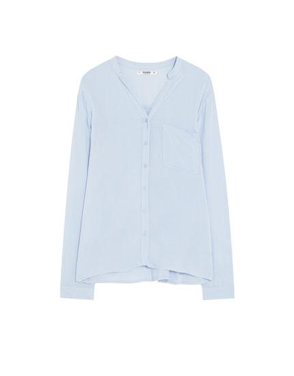 Basic overhemd met maokraag