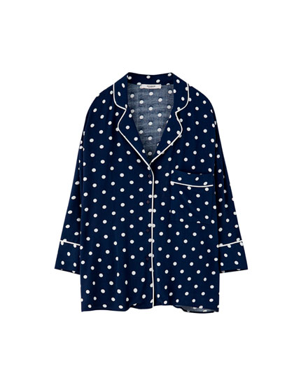 Polka dot shirt with lapel collar