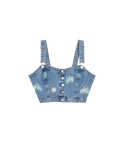Top cropped din denim cu broderie