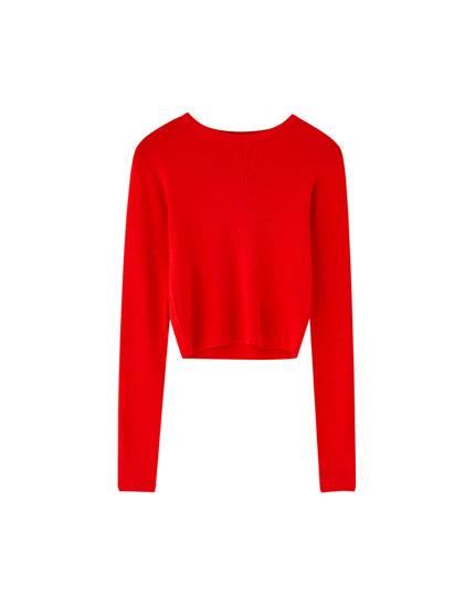 Saīsināts džemperis ar apaļu kakla izgriezumu