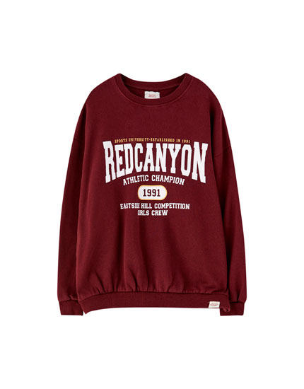 Slogan and graphic varsity sweatshirt