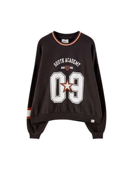 Number and star print varsity sweatshirt