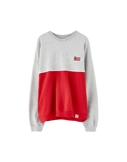Two-tone flag sweatshirt