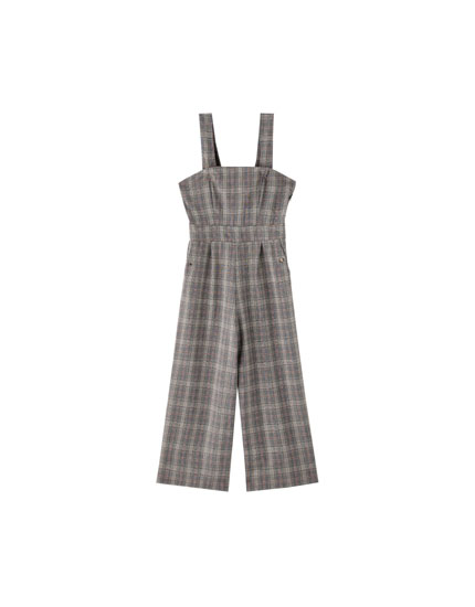 Long check dungarees