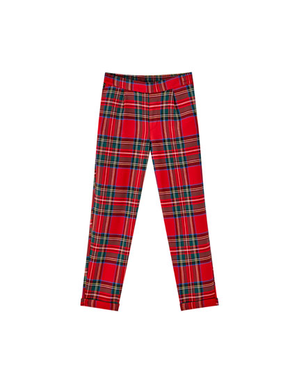 Checked jogging trousers