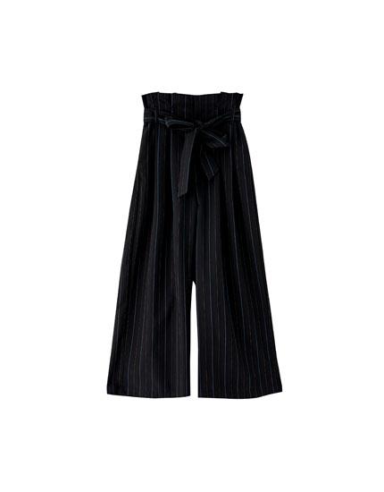 Pantalon paperbag rayures