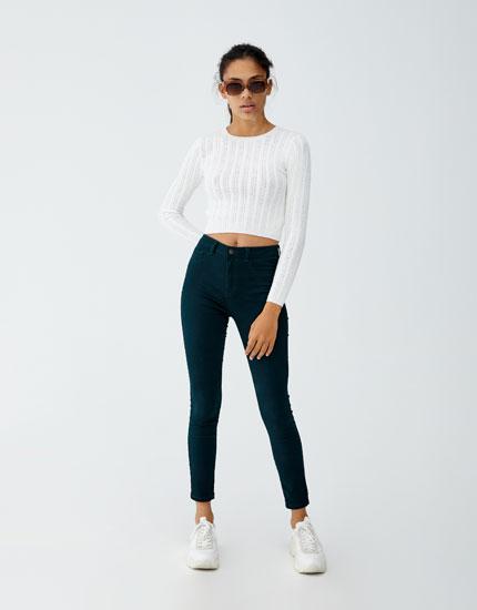 Blugi skinny fit cu talie înaltă
