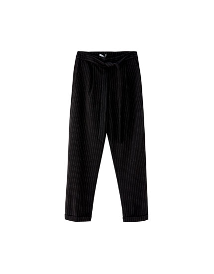 Pinstriped paper bag trousers