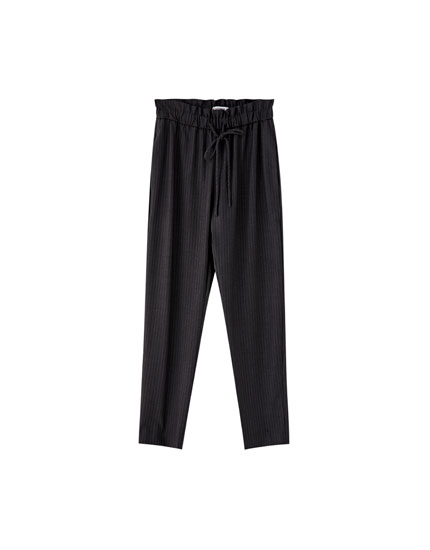 Tailored trousers with gathered waist