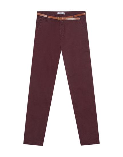 Spodnie typu chinos basic z paskiem