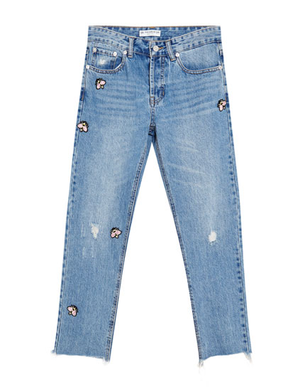Straight-Fit-Jeans mit Rissen und Patches