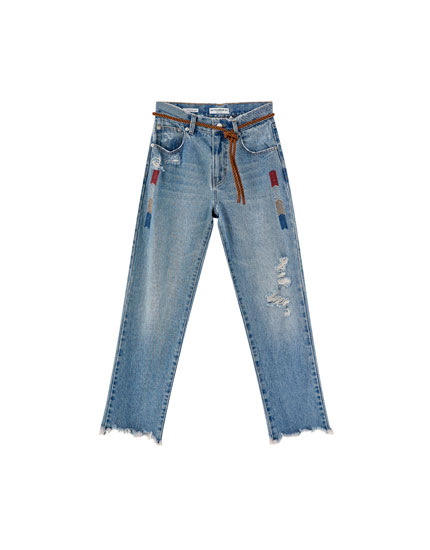 Straight leg jeans with geometric embroidery
