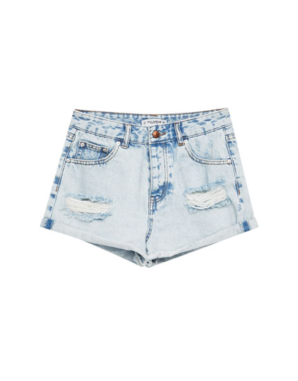 Pantaloni scurți din denim mom fit cu rupturi