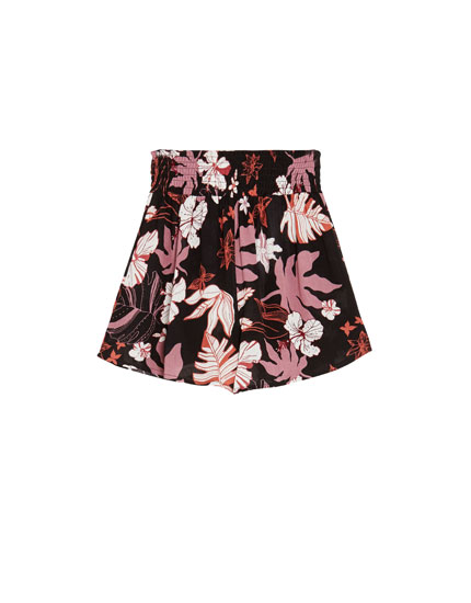 Shorts med blomsterprint