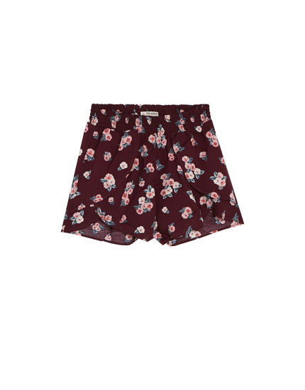 Burgundy printed layered shorts