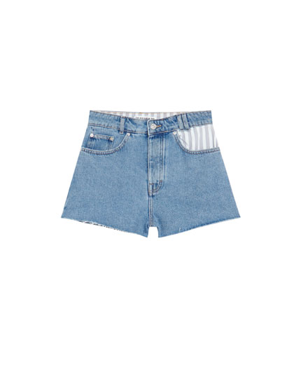 Denim shorts with striped pocket