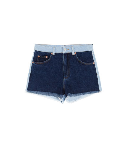 Tweekleurig denim mom fit short