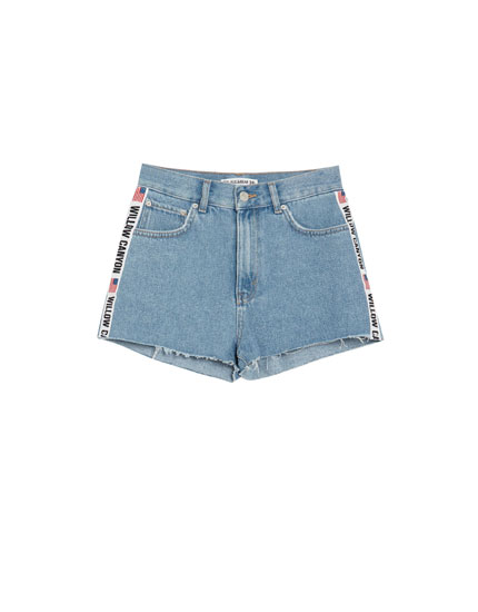 Shorts denim mom fit banda lateral