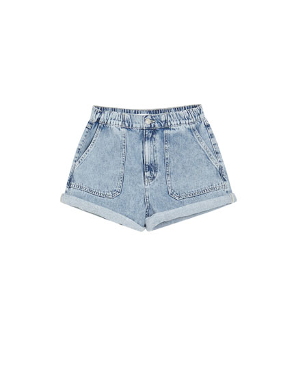 Denim short met elastiek in de taille