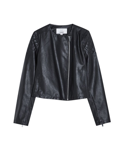 Faux leather jacket with shoulder detail