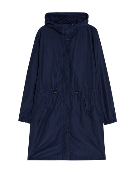 Quilted parka with pockets.