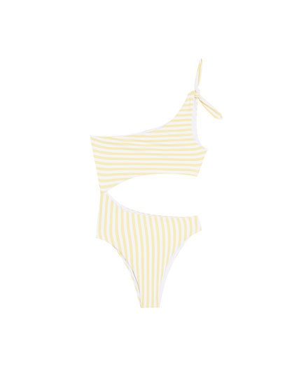 Striped swimsuit with one strap