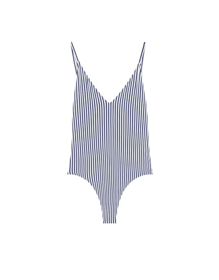 Paradise swimsuit with navy blue stripes