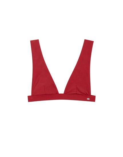 Paradise maroon V-neck bikini top