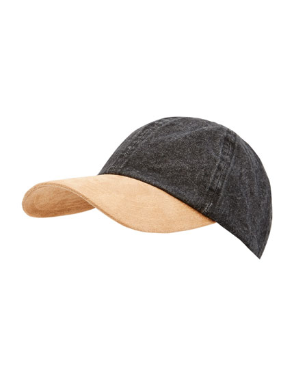 Denim cap with contrasting peak