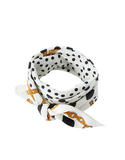 Polka dot and chain print scarf