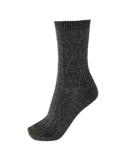 Chunky cable-knit socks