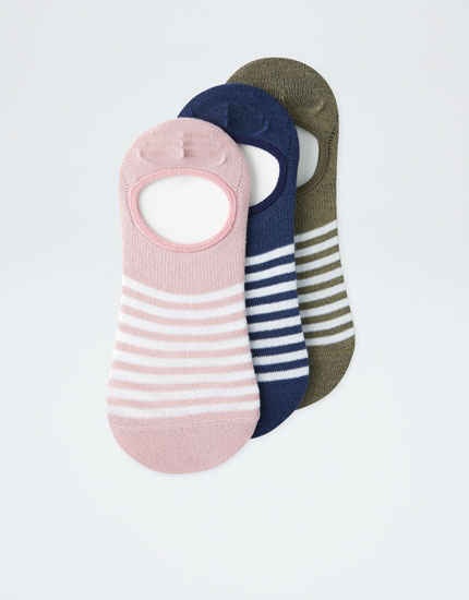 3-pack of striped no-show socks
