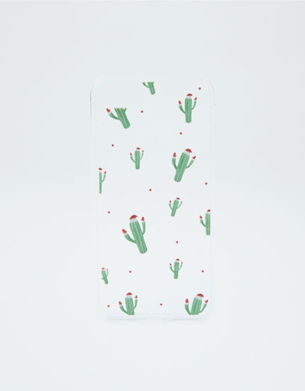 Cactus with Christmas hat case