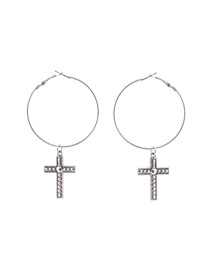 Cross pendant hoop earrings