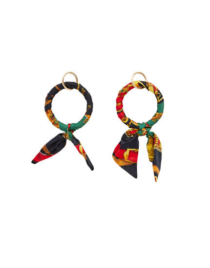 Hoop earrings with handkerchief